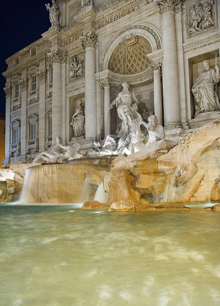Trevi fountain and statues, Rome, Italy