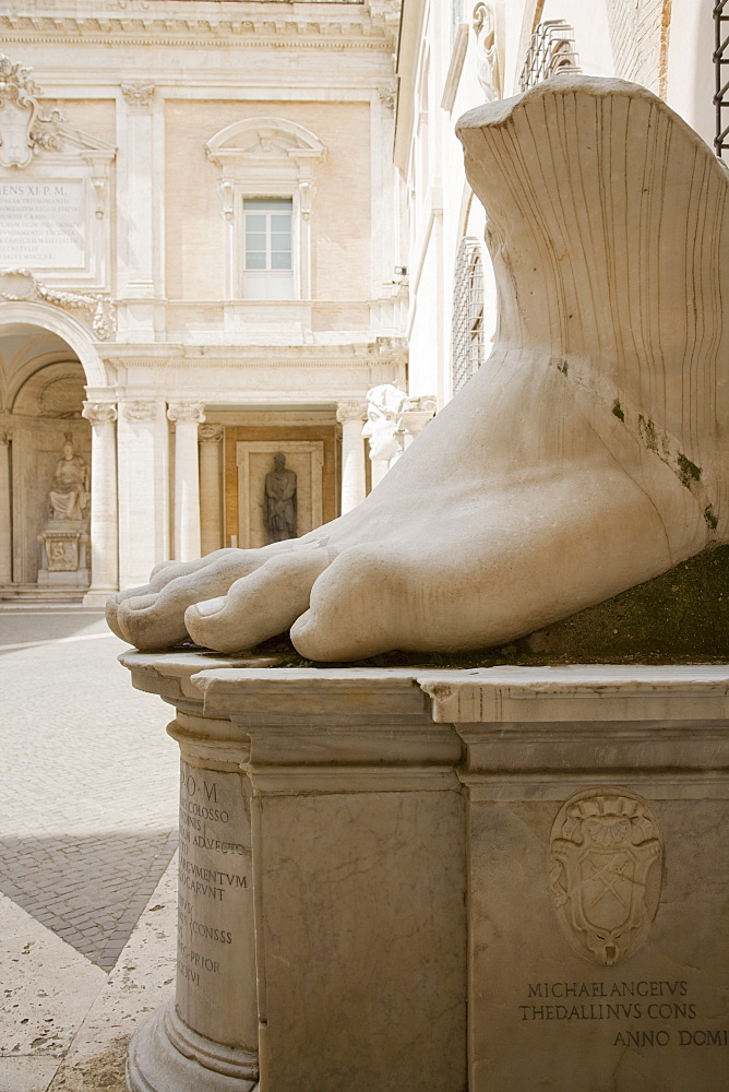 The foot of Constantine statue, Capitoline Museum, Italy