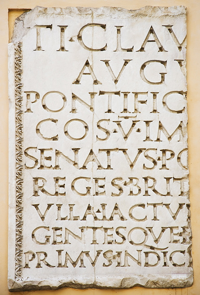 Close up of Latin inscription