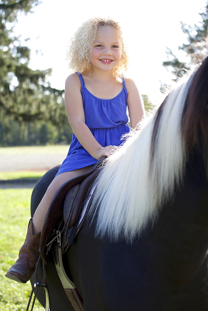 Girl (4-5) horseriding, Old Wick, New Jersey