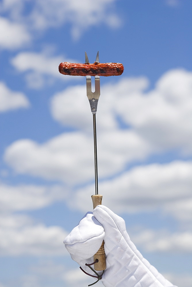 Hot dog on barbeque fork