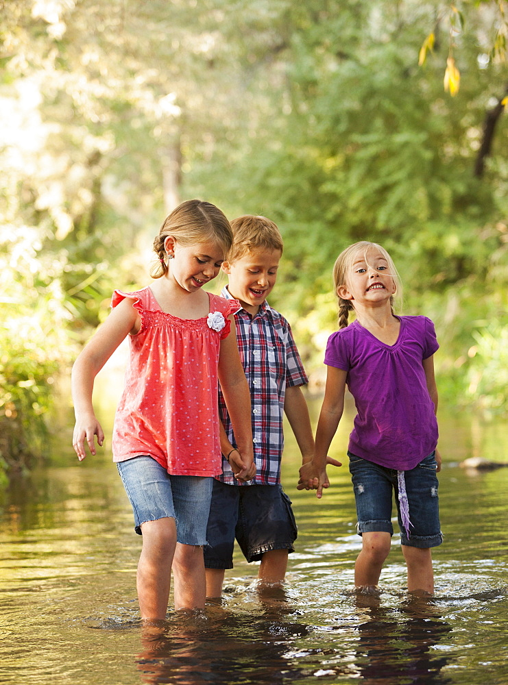 Three kids (4-5, 6-7) holding hands and walking together in small stream, Lehi, Utah