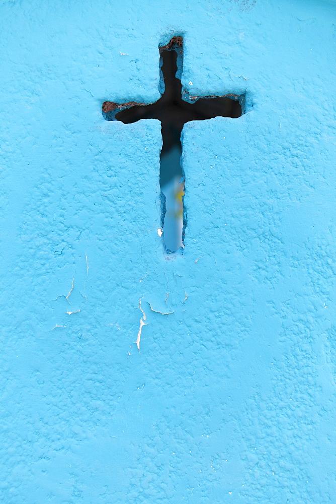 Mexico, Quintana Roo, Yucatan Peninsula, Isla Mujeres, Cross shape on blue wall, Mexico, Quintana Roo, Yucatan Peninsula, Isla Mujeres