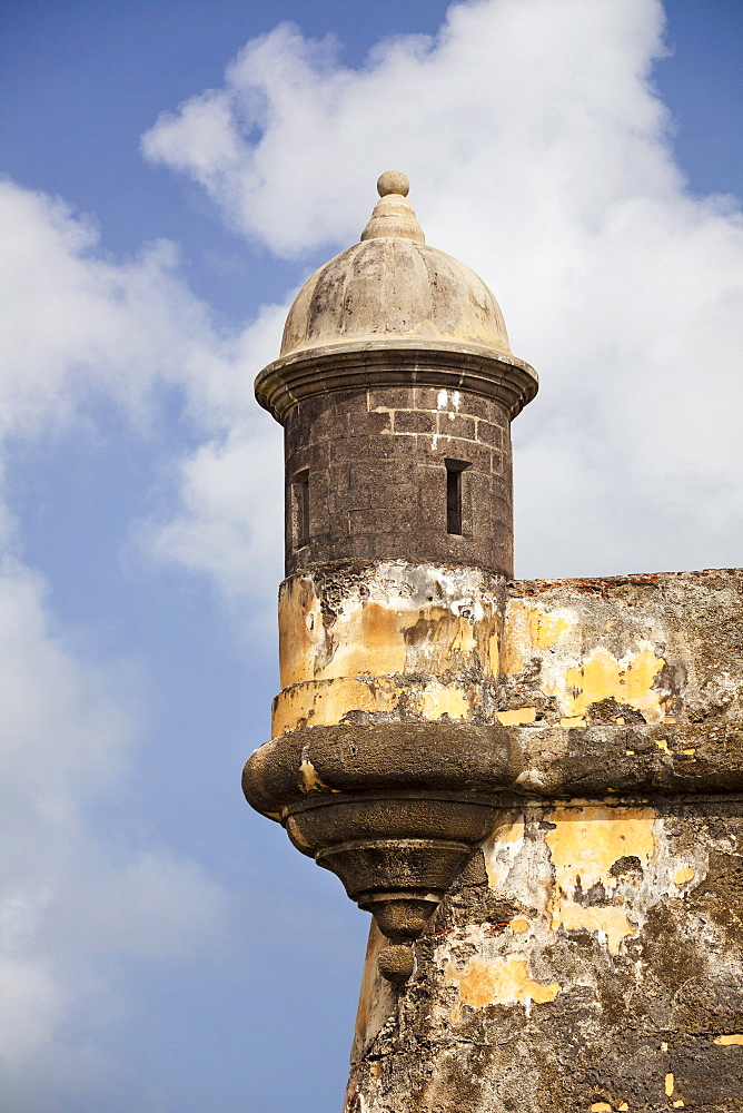 Morro Castle, Old weathered watchtower, El Morro, San Juan, Puerto Rico