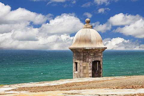Morro Castle, Old weathered watchtower, El Morro, San Juan, Puerto Rico