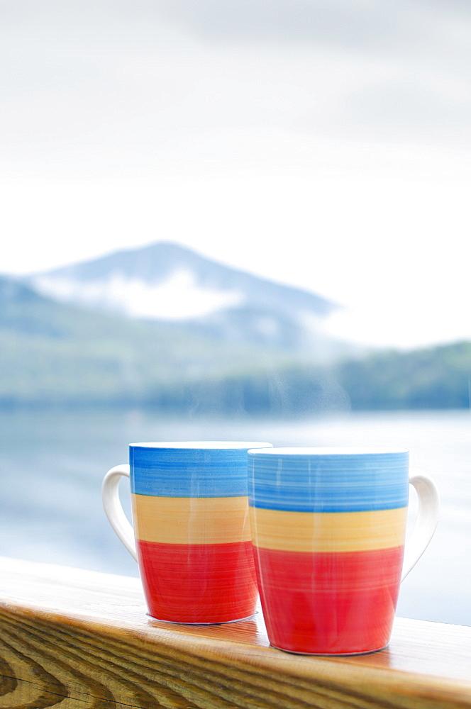 Coffee mugs on railing, New York State