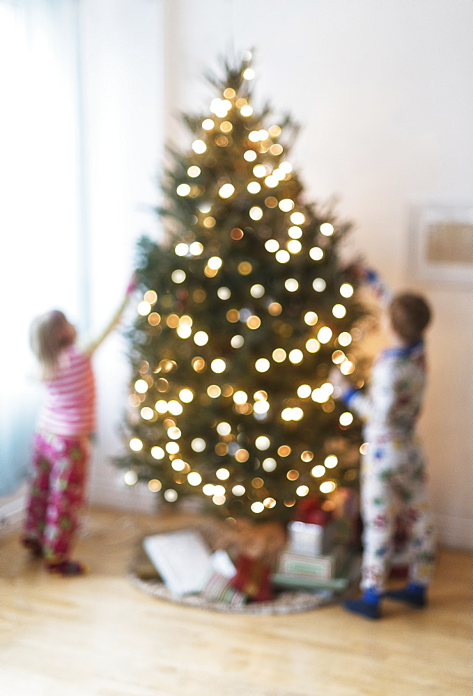 Sister and brother (4-5, 6-7) decorating christmas tree