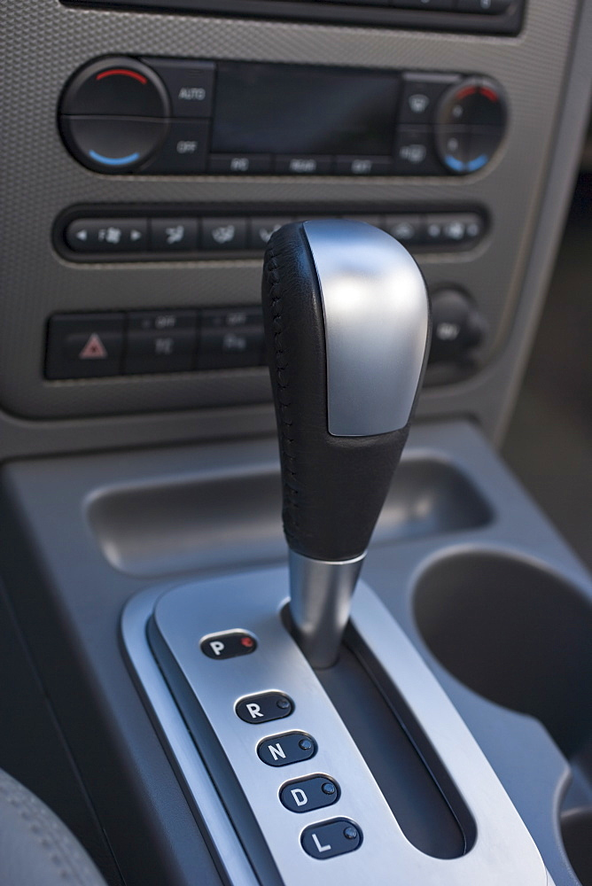 Close up of automatic gearshift in car