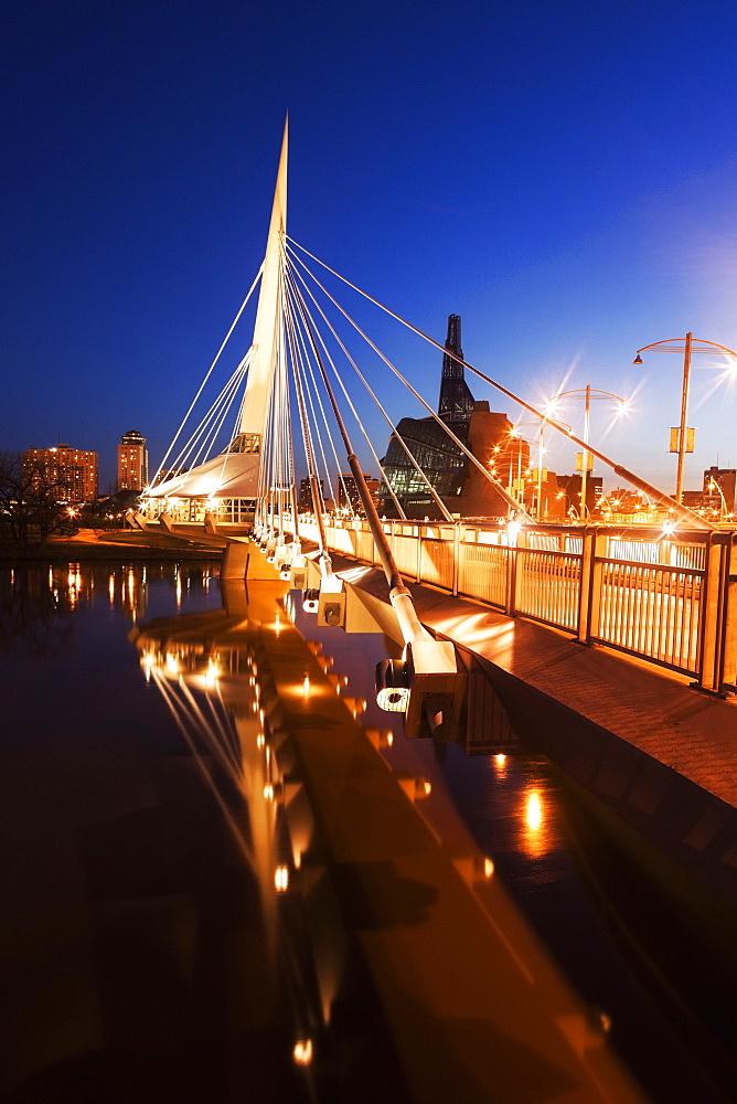 Illuminated footbridge, Winnipeg Manitoba, Canada