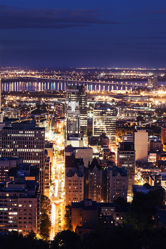Elevated view of city by night, Quebec, Canada