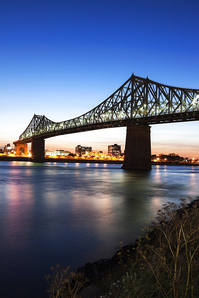 Illuminated Jacques Cartier Bridge against sky, Quebec, Canada