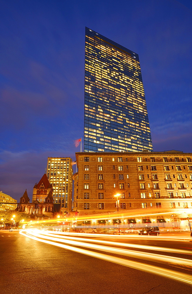 Traffic trails in Copley Square at dusk, Boston, Massachusetts
