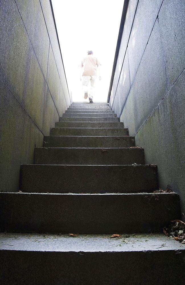 Man at top of stone stairway, Boston, Massachusetts