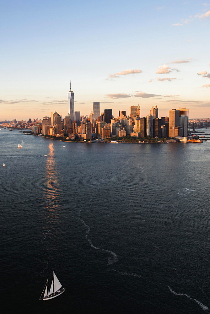 Manhattan skyline at sunset, New York, New York