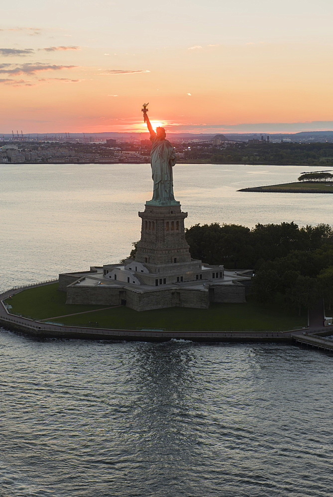 Aerial view of Statue of Liberty, New York, New York