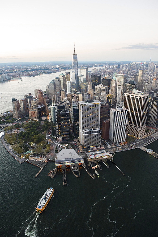 Aerial view of Lower Manhattan and One World Trade Center, New York, New York