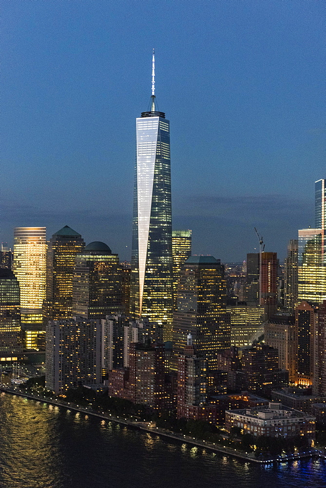 Aerial view of Manhattan and One World Trade Center, New York, New York