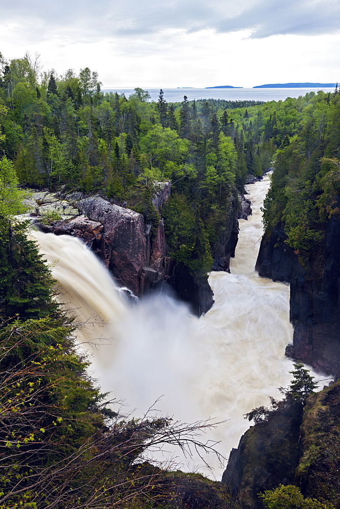 Scenic view of waterfall, Aguasabon Falls, Terrace Bay, Ontario, Canada