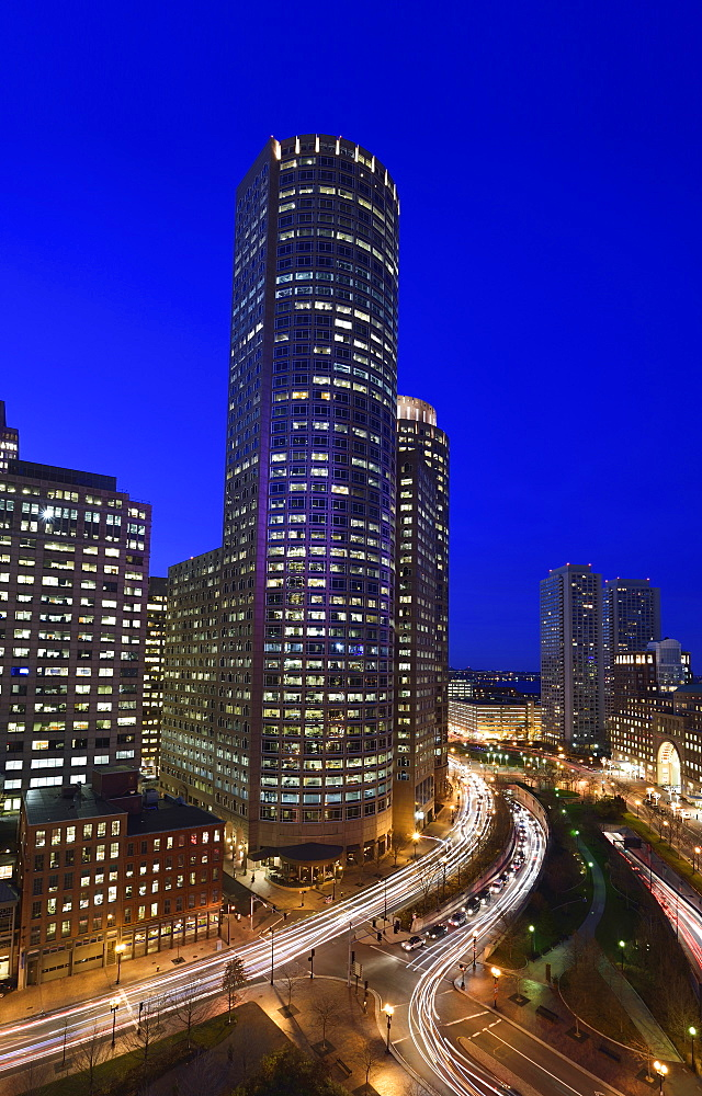 High angle view of illuminated cityscape at dusk, Financial District, Boston, Massachusetts