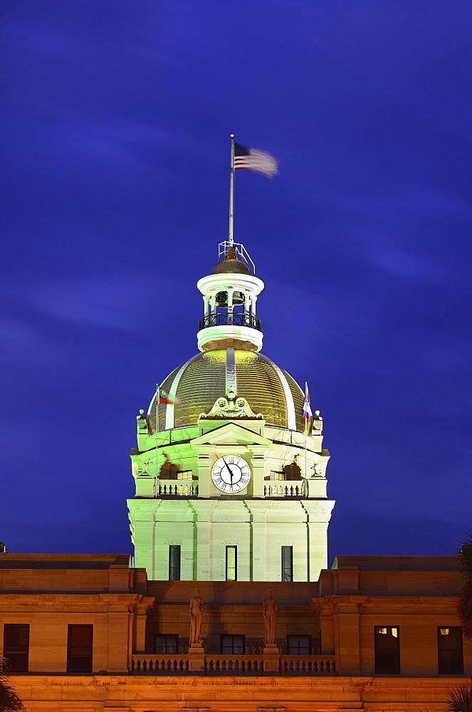 City hall clock tower illuminated in green, Savannah City Hall, Georgia