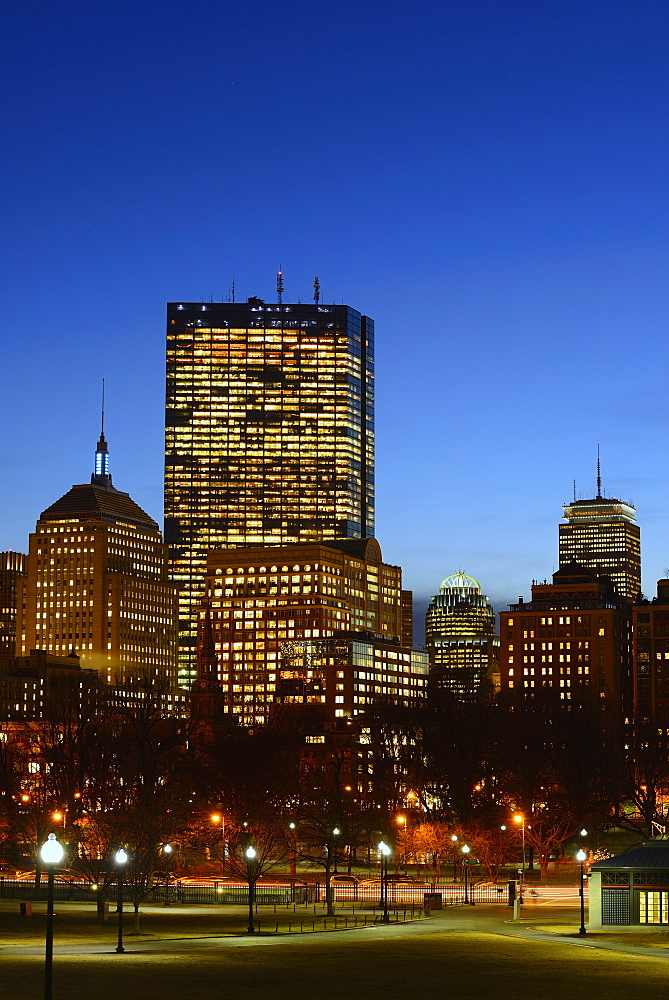 Illuminated office buildings at dusk, Copley Square, Boston, Massachusetts