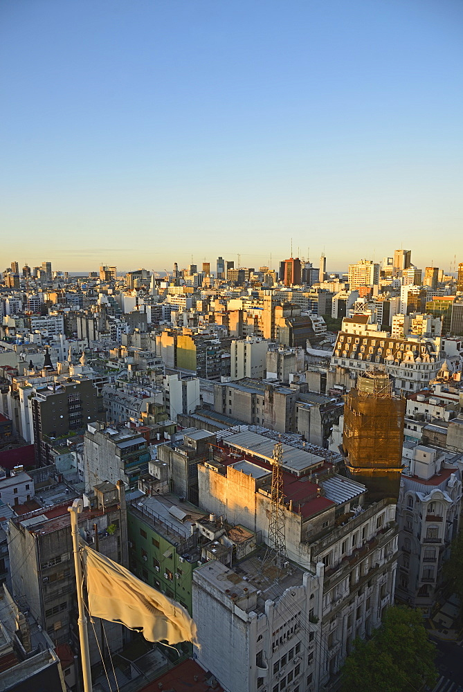 Elevated view over Balvanera neighborhood, Buenos Aires, Argentina