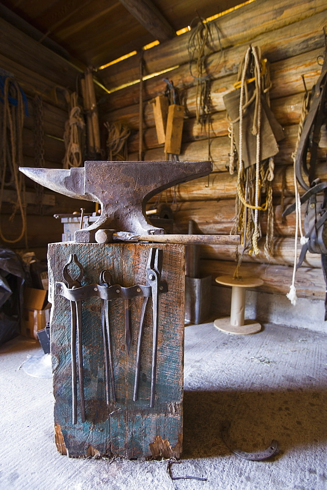 Anvil in blacksmith shop, Montana,USA
