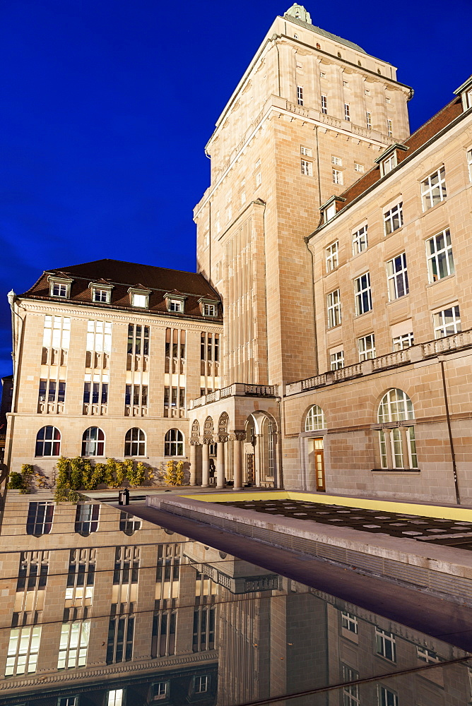 University of Zurich building reflecting in pond, University of Zurich,Zurich, Switzerland