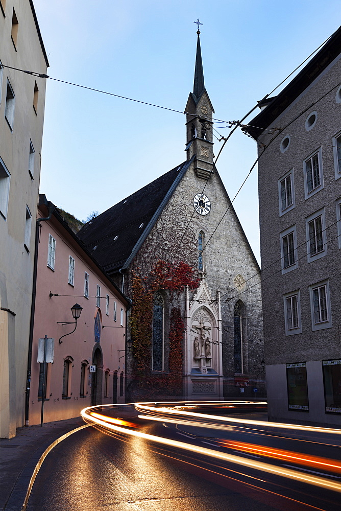 St. Blaise's Church, Light trails on old town street, St. Blaise's Church, Salzburg, Austria