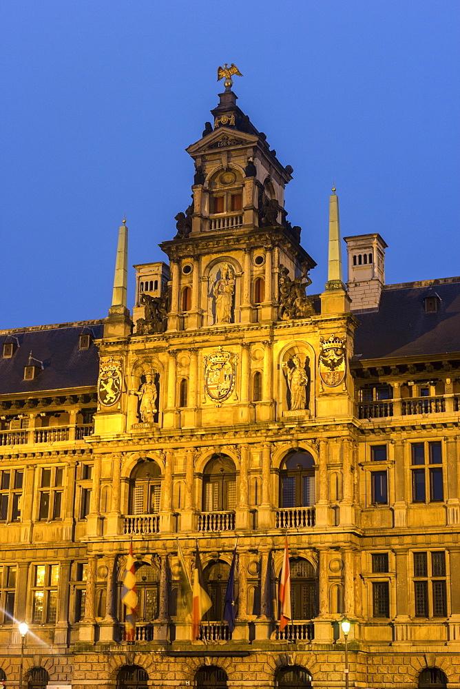 View of Antwerp City Hall at sunrise, Antwerp City Hall,Antwerp, Flemish Region, Belgium