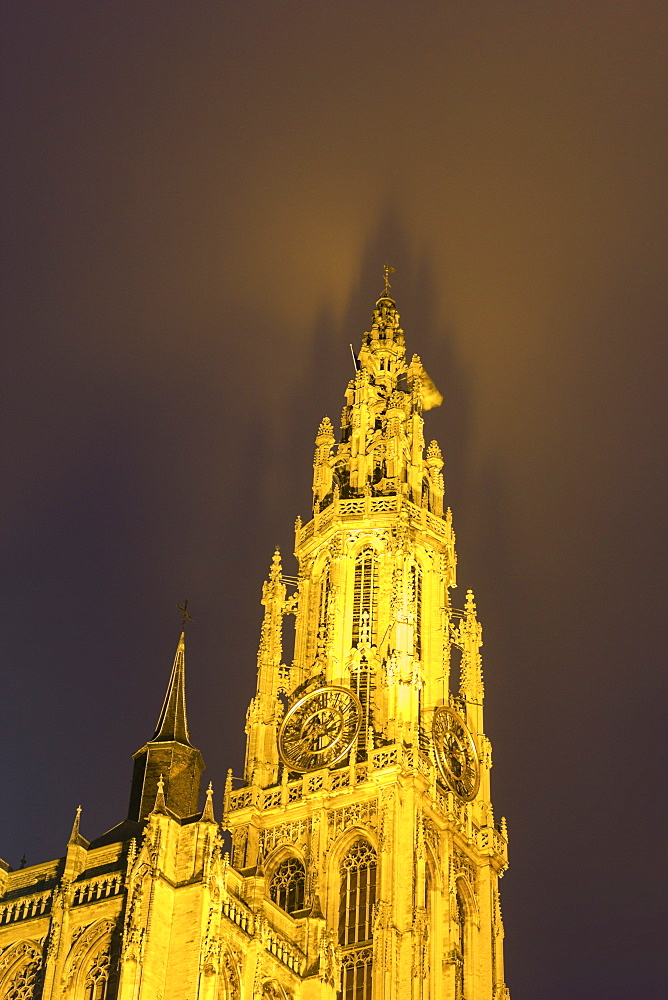 Low angle view of cathedral, Cathedral of Our Lady,Antwerp, Flemish Region, Belgium