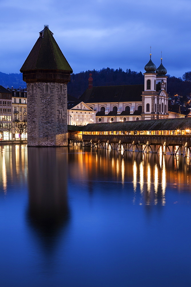 Chapel Bridge and Jesuit Church, Switzerland, Lucerne, Chapel Bridge,Kapellbrucke, Jesuit Church