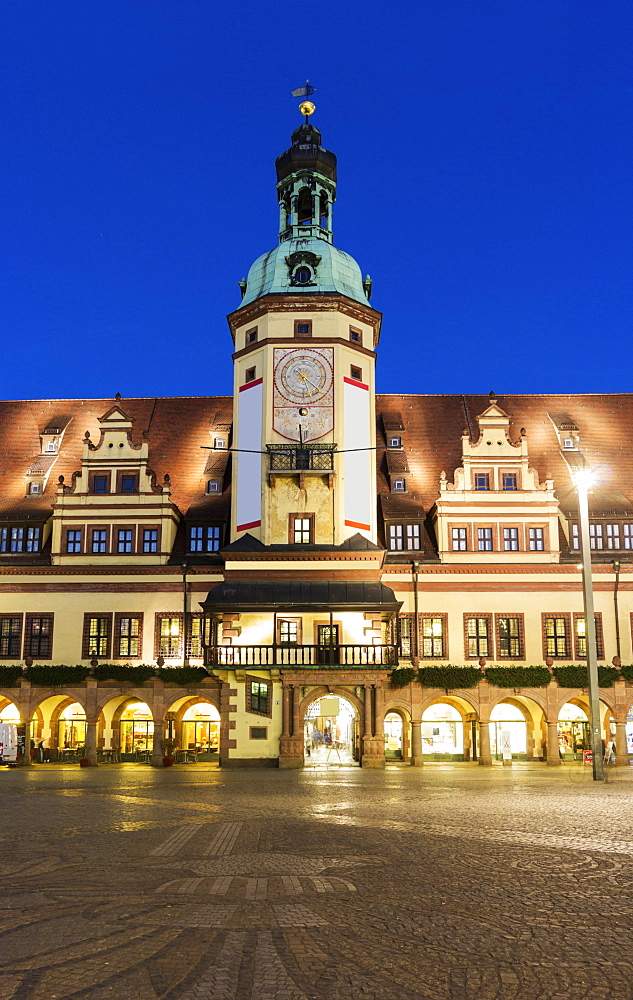 Town hall at night, Germany, Saxony, Leipzig
