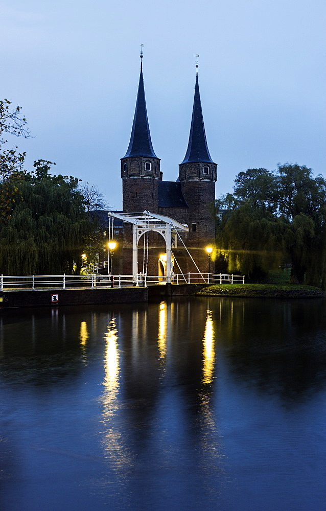 Towers at night, Netherlands, South Holland, Delft