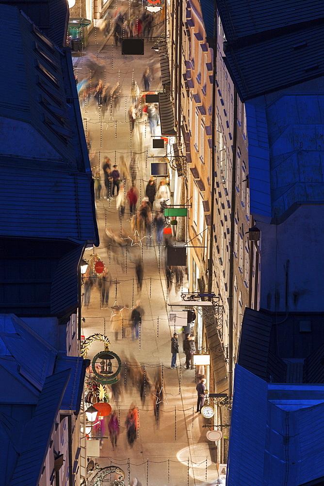 Getreidegasse at night, Austria, Salzburg, Getreidegasse