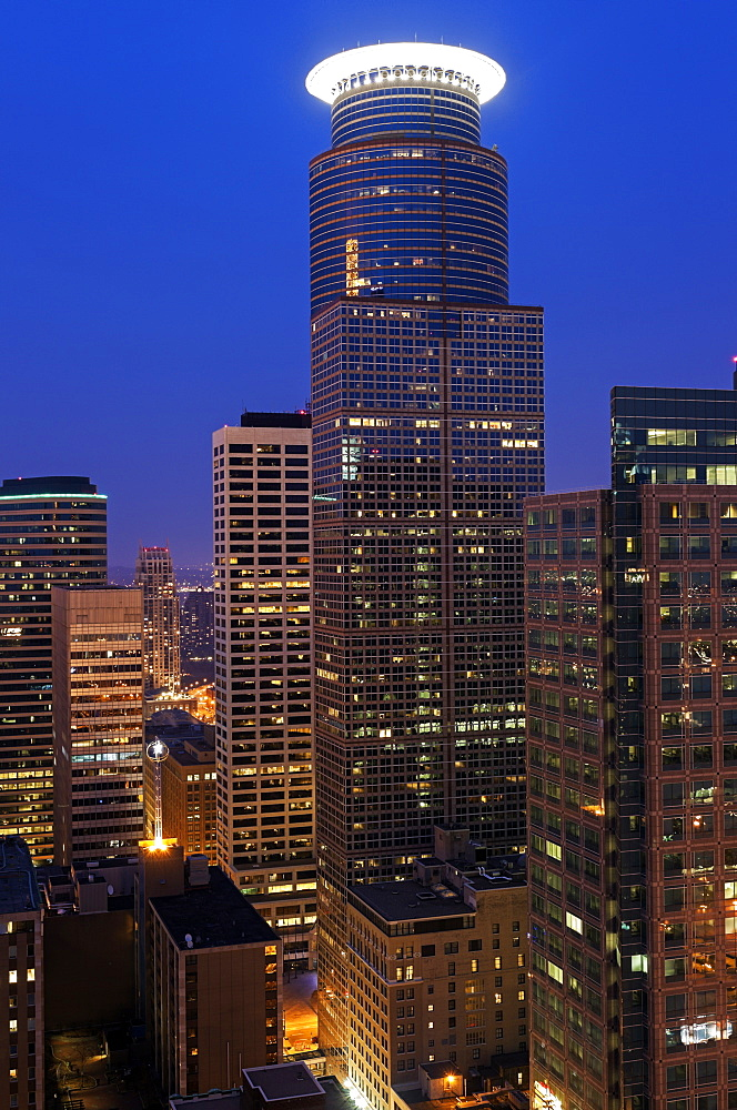 Downtown district at night, USA, Minnesota, Minneapolis