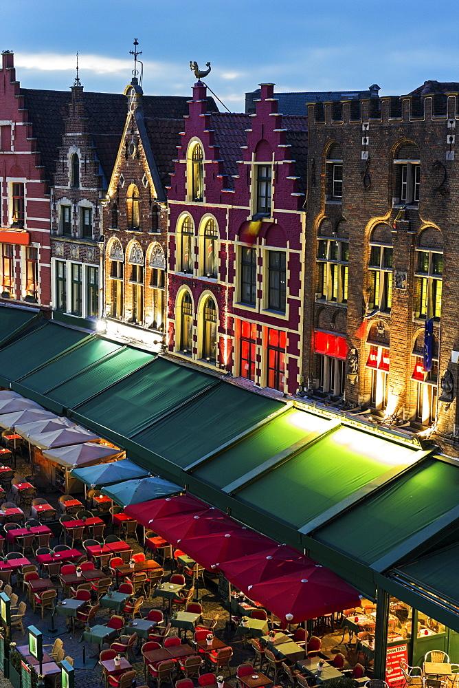 Town square at night, Belgium, Flemish Region, Bruges