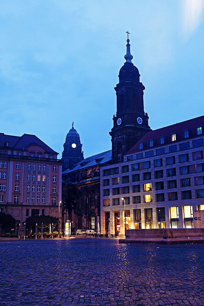 Altmarkt and Kreuzkirchturm and Dresden City Hall, Germany, Saxony, Dresden, Altmarkt,Kreuzkirchturm, Dresden City Hall