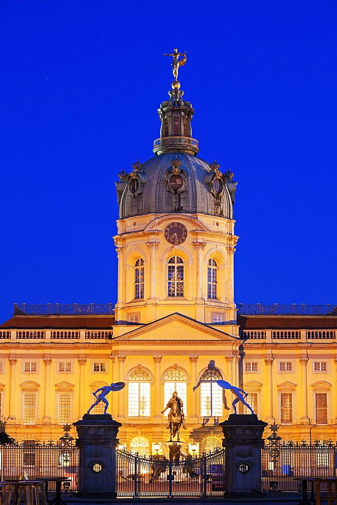 Facade and entrance at night, Germany, Berlin, Charlottenburg Palace