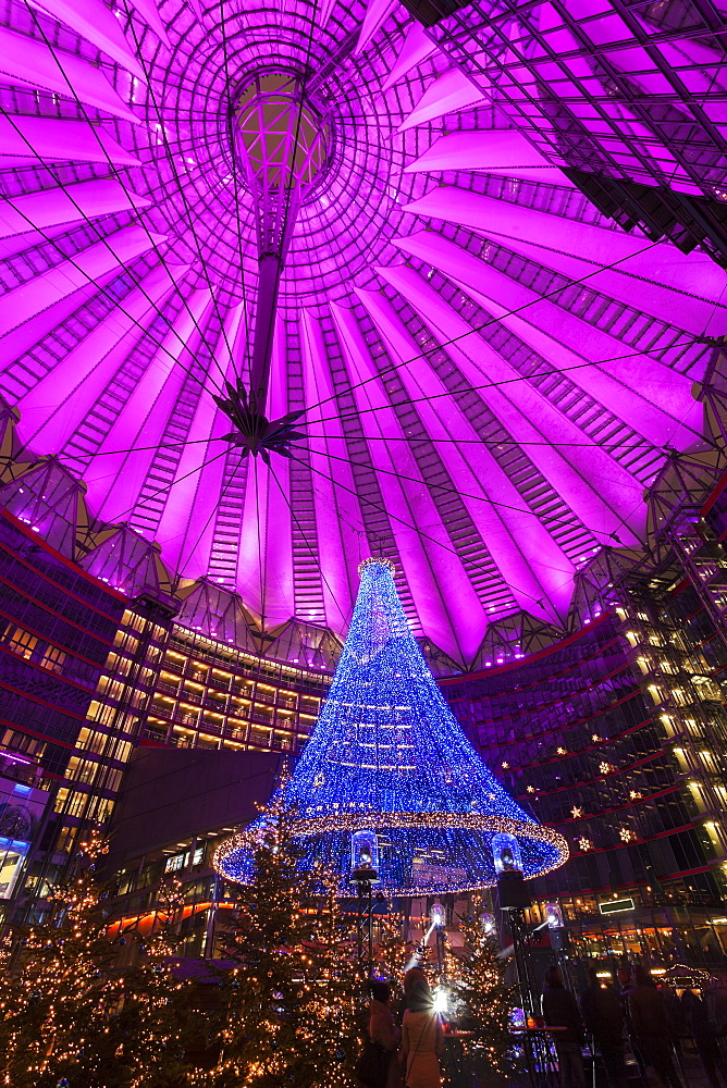 Illuminated dome of Sony Center, Germany, Berlin, Sony Center, Christmas time - 1178-25307