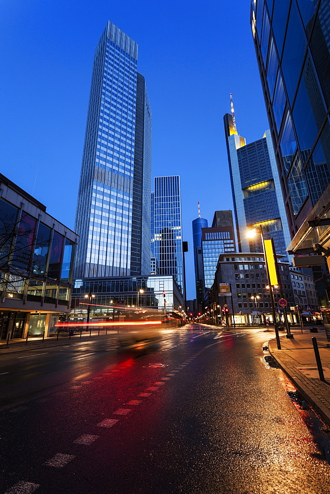Illuminated city street, Germany, Hesse, Frankfurt