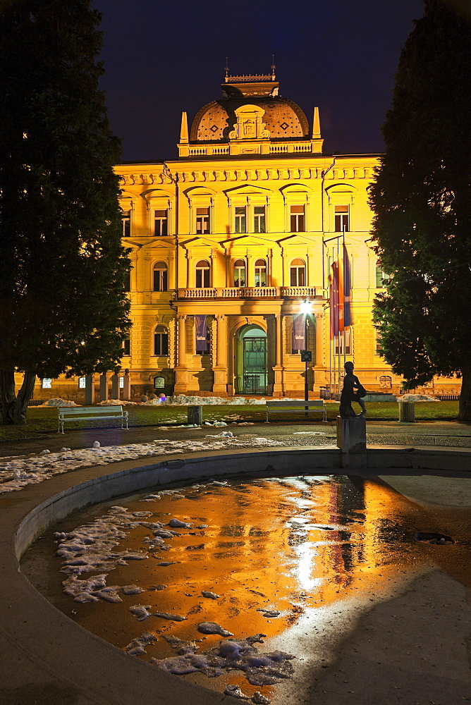 Illuminated facade of Maribor University building, Slovenia, Maribor, Maribor University