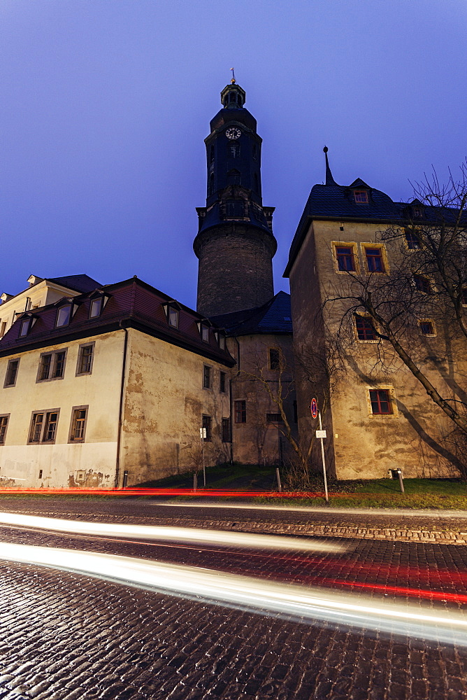 Light trails in old town, Germany, Thuringia, Weimar, City Castle