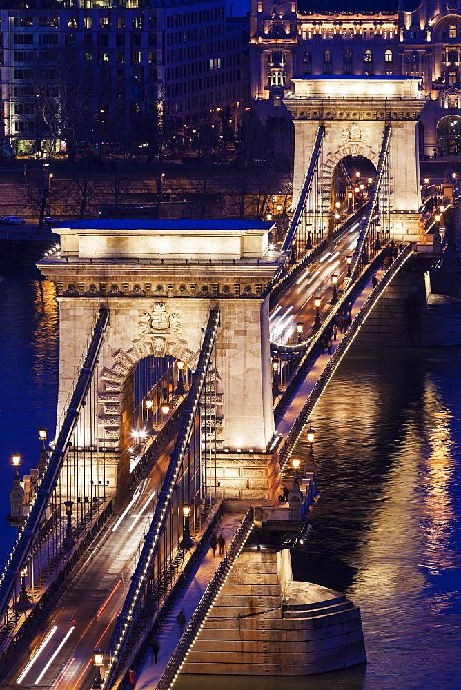 Elevated view of Chain Bridge at night, Hungary, Budapest, Chain bridge
