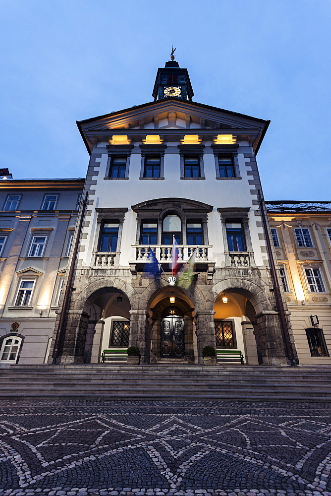 Illuminated facade of Ljubljana City Hall, Slovenia, Ljubljana, Ljubljana City Hall
