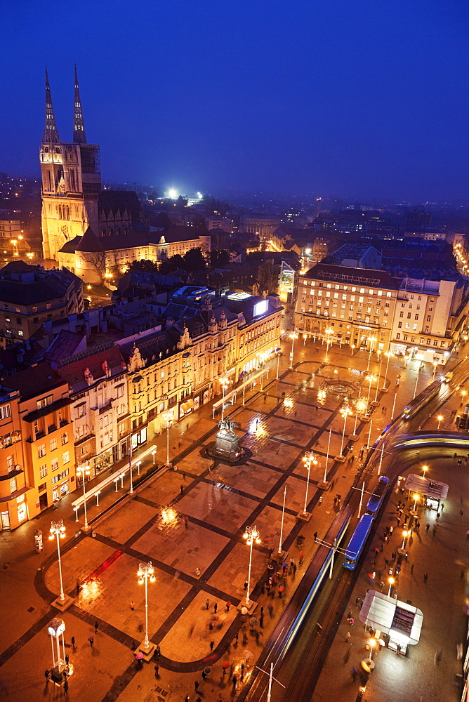 Elevated view of Ban Jelacic Square at night, Croatia, Zagreb