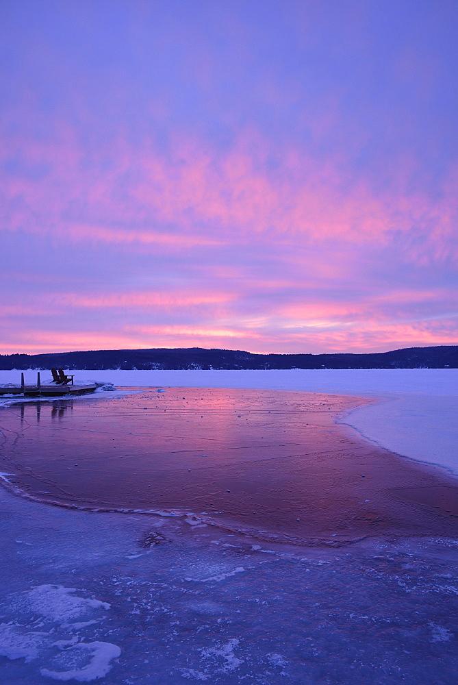 Lake George in winter, USA, New York State, Lake George