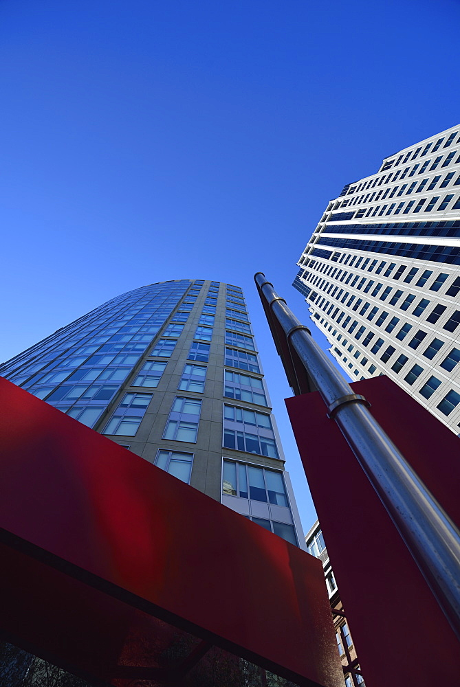 Low-angle view of glass skyscraper, USA, Massachusetts, Boston