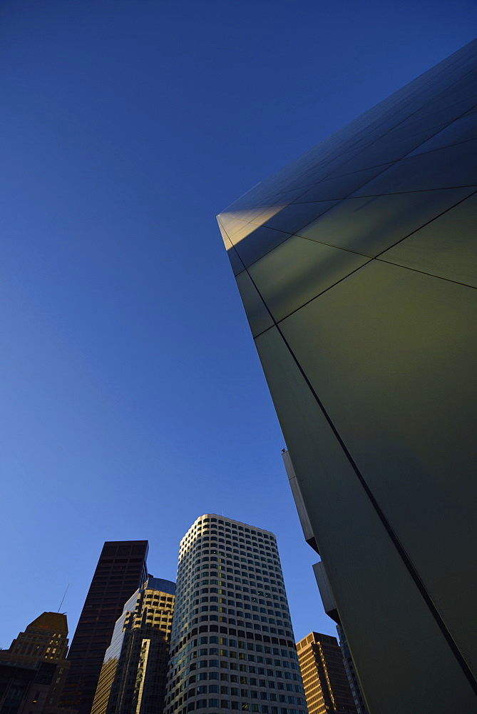 Low-angle view of financial district, USA, Massachusetts, Boston, Financial District