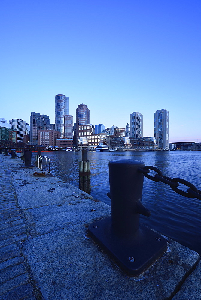 Financial district at dawn from Fan Pier, USA, Massachusetts, Boston